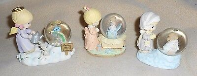 Precious Moments  Snow Globe Figurine Lot Of 3
