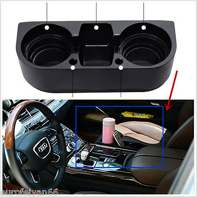 Portable Black Autos SUV Seat Seam Wedge Cup Bottle Holder Storage Box Organizer