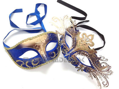 Princess Royal Blue Couple Masquerade Ball Mask Pair Dance Prom Birthday Party