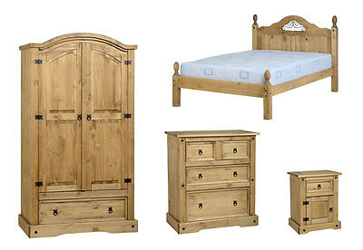 Seconique Corona Bedroom Set 4ft6 LFE Scroll Bed 2dr 1drw Robe 2+2 Chest Bedside