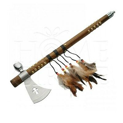 Native American Tomahawk Peace Pipe Axe Knife Feathers Wooden Handle 47.5cm