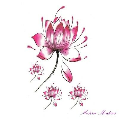 Pink Lotus Flower Removable Temporary Tattoo Body Art 106x61mm