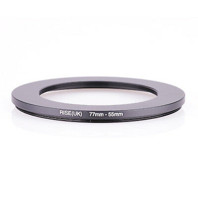 RISE(UK) 77mm-55mm 77-55 mm 77 to 55 Step down Ring Filter Adapter black