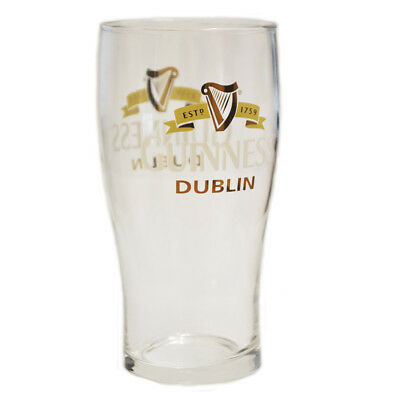Guinness Label Loose Pint Glass With Dublin Text And Harp Design