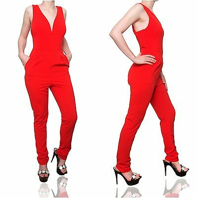 roter Overall mit Trägern Stretch Einteiler Catsuit Jumpsuit Skinny rot 33610