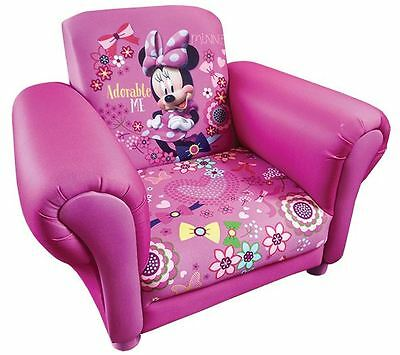 Disney Childrens Minnie Mouse Cartoon Kids Armchair Upholstered Seat Sofa Chair