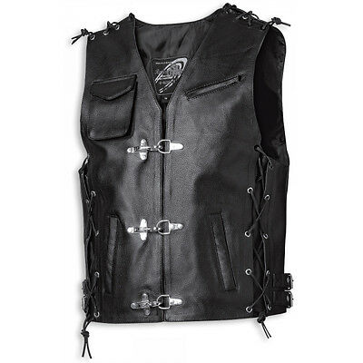 Held Carson Black Moto Motorcycle Motorbike Mens Leather Waistcoat | All Sizes