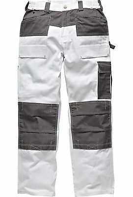 Dickies Mens Trousers Knee Pad Pockets Painters Decorators WD4930 White 30-44''