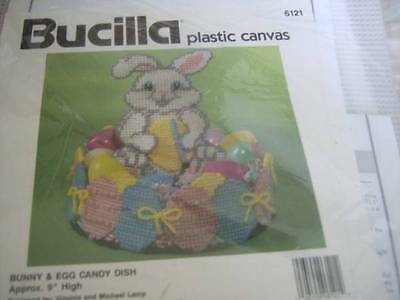 """Bucilla Bunny & Egg Candy Dish Plastic Canvas Kit # 6121 -Approx 9"""" High NEW"""
