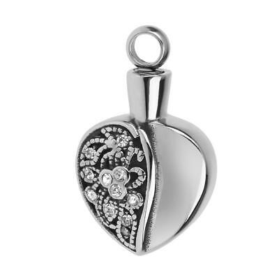Heart Cremation Ashes Urn Memorial Pendant for Necklace Jewelry Silver
