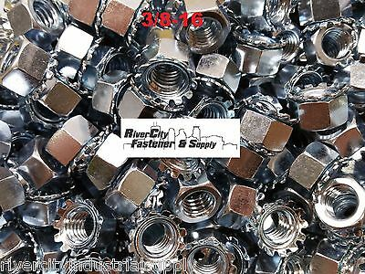 (500) 3/8-16 External Star Lock / Kep Nuts 3/8 x 16 Locking Keps Nut / Locknuts