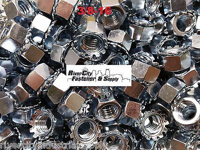 (100) 3/8-16 External Star Lock / Kep Nuts 3/8 x 16 Locking Keps Nut / Locknuts