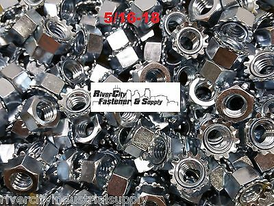 (1000) 5/16-18 External Star Lock / Kep Nuts 5/16 x 18 Locking Keps Nut Locknuts