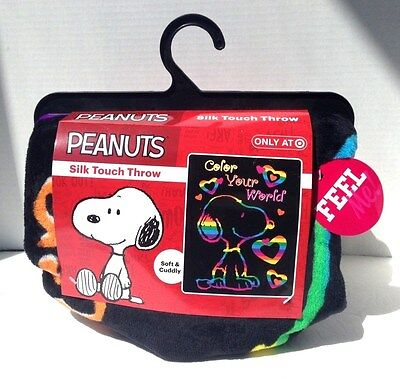 "Peanuts Snoopy ""Color Your World"" Silk Touch Throw-40""X50""-Soft & Cuddly-New"