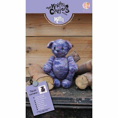 Knitty Critters Knit and Felt Toy Kit Kitty, Purples