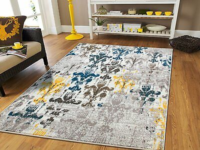 Distressed Area Rugs 8x10 Cream Blue Rug 5x7 Living Room