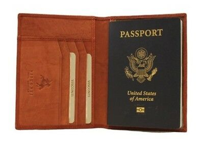Visconti 2201 Brown Leather Passport Protect Cover Case Holder ID Travel Wallet