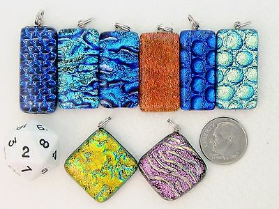 Ty Handcrafted Fused Dichroic Glass Pendants- Lot(8)-Spring Sale