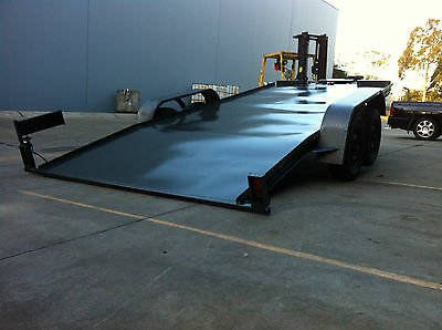 Car Trailer Rampless Tandem Axle Hydraulic Tilt 16X6.6Ft 2T No Ramps Quick Load