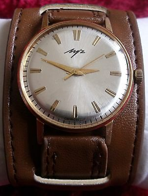 """Vintage """"Luch""""-23J- Gold Plated-10-Mikrons-Old Ussr Wrist Watch Men,S"""