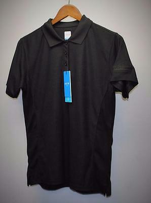 New Ladies AUR ACTIVE LARGE black short sleeve golf polo shirt Whitevale GC