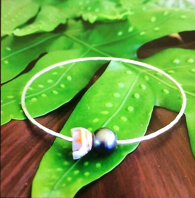 Handcrafted Hawaiian Shell/Freshwater Pearl Sterling Silver Bangle