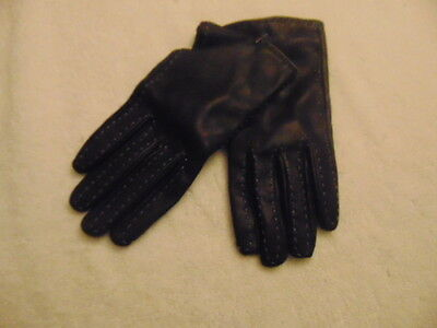 NWOT Women's Coldwater Creek Black W/Gray Trim Leather Gloves Lined-M