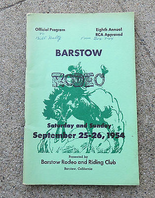 Vintage 1954  8th Annual Barstow Ca Rodeo Program