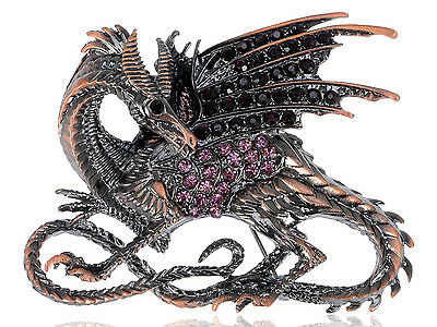 Vintage Chinese Amethyst Rhinestone Embellished Winged Dragon Pin Brooch Gift