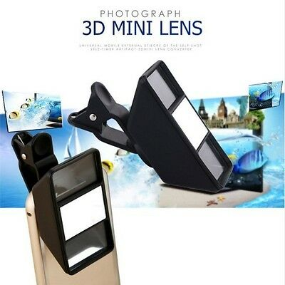 3D Stereoscopic Camera Lens w/ Clip For iPhone Samsung Smart Phone Tablet