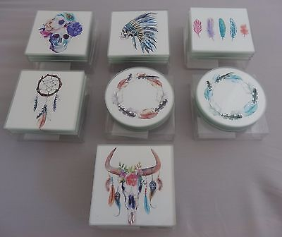 Set Of 4 Glass Coasters Great Designs Dreamcatcher, Skull, Feathers Boho Indian