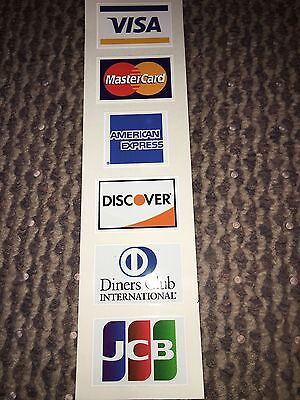 Credit Card Decals and Stickers Visa MasterCard Discover Amex