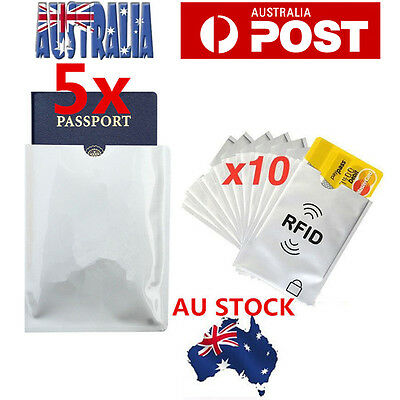 5xL Passport + 10xS RFID Blocking ID Credit Card Protector Sleeve Shield Holder