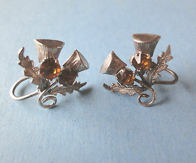 Earrings, Vintage SS Citrine Double Thistle Celtic  Marked WBS Silver