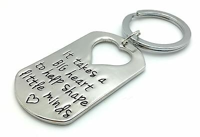 'It Takes A Big Heart To Shape Little Minds' KEYRING  Present For TEACHER - UK