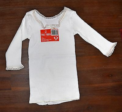 Red Robin Baby Long Sleeves Top Underwear-White Size 0 -100% Cotton