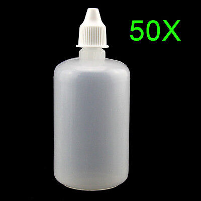 50Pcs 100ml Squeezable LDPE Eye Liquid Dropper Bottles with Childproof Cap