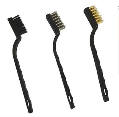 MINI WIRE BRUSH SET 3x BRASS NYLON & STAINLESS STEEL BRISTLE JEWELRY CLEANING 7H