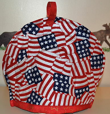 """TEA COZY-Patriotic Red, White and Blue, HANDCRAFTED, QUILTED, 11""""Wx13""""L"""