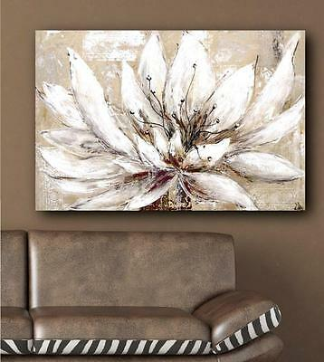 White Cream Natural Flower Floral Hand Painted Canvas Painting Wall Art