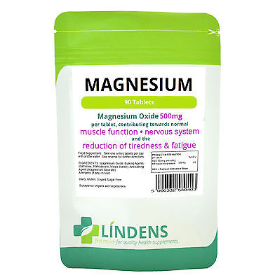 Magnesium tablets (90 x 500mg MgO) reduce tiredness & fatigue LINDENS