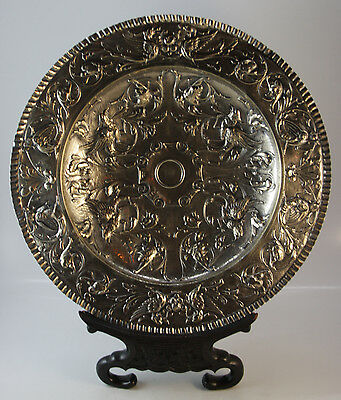 Mexican Silver Plate on a Wooden Holder