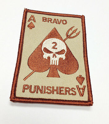 Military Patch Seal Team Bravo Punishers Ace Spades Hook&Loop New #32939