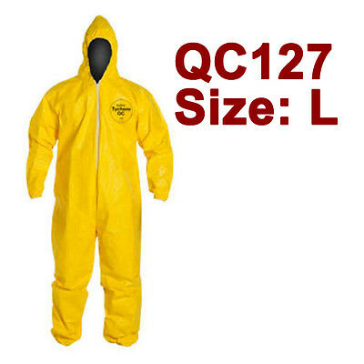 DuPont Tychem Coverall. Standard Hood. Elastic Wrists & Ankles - QC127 - Large