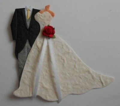 Pk 2 Formal Tails Suit Bride And Groom Red Rose Embellishments For Cards/crafts