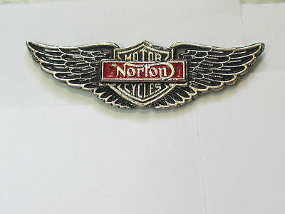 Norton Wings Motorcycle Pin , Vintage Norton Pin Badge (1 pin - Silvertone )