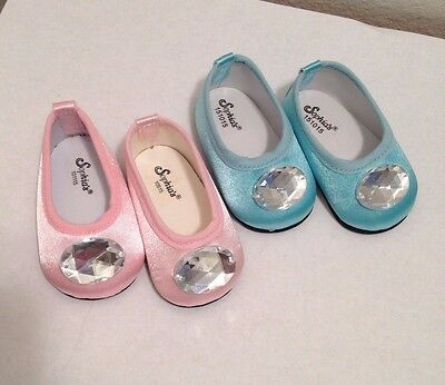 """New Sophia Doll Clothes Pink, Blue Jeweled Shoes Fits American Girl 18""""Type Doll"""