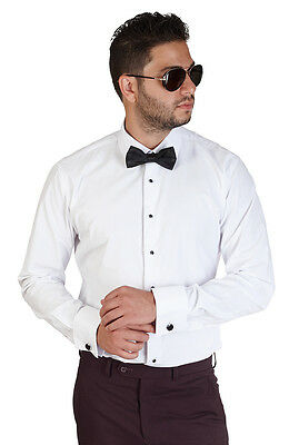 New Men's White Tuxedo Dress Shirt Slim Tailored Fit French Cuff Spread Collar