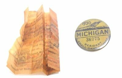 Vintage 1930 Michigan resident  SMALL GAME  LICENSE Pinback w/PAPERWORK in Back!