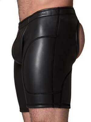 665 Leather Neoprene Open Ass Long Shorts Black GBGB Good Boy Gone Bad Clothing